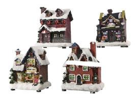 Kersthuisjes met verlichting